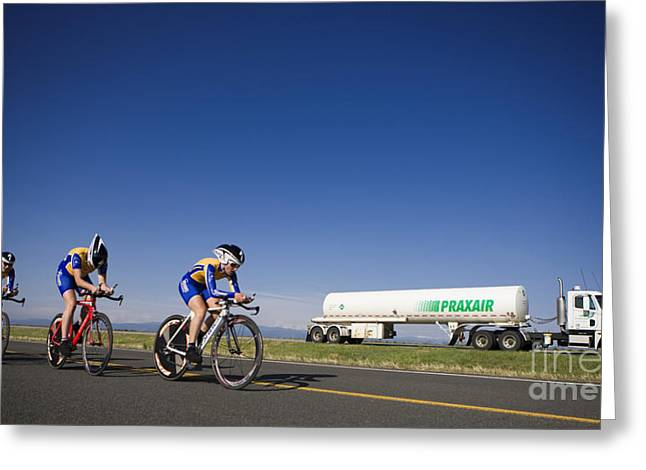Time Trials Greeting Cards - Team Time Trial Chasing a Tanker Truck Greeting Card by Jason O Watson