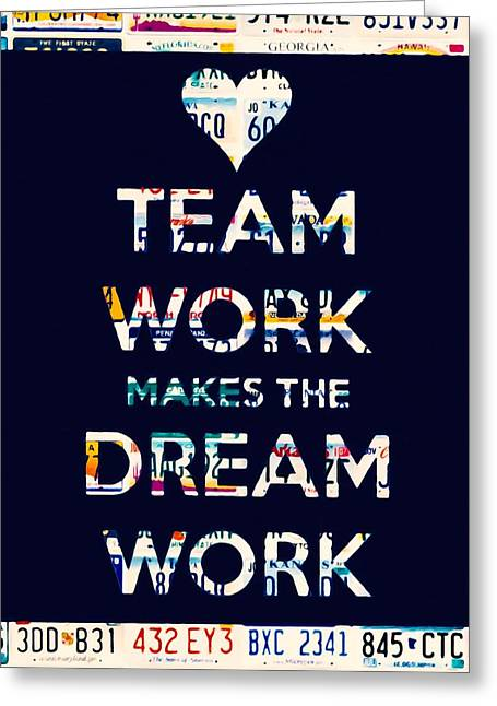 Strategy Paintings Greeting Cards - Team work makes the dream work Greeting Card by Lanjee Chee