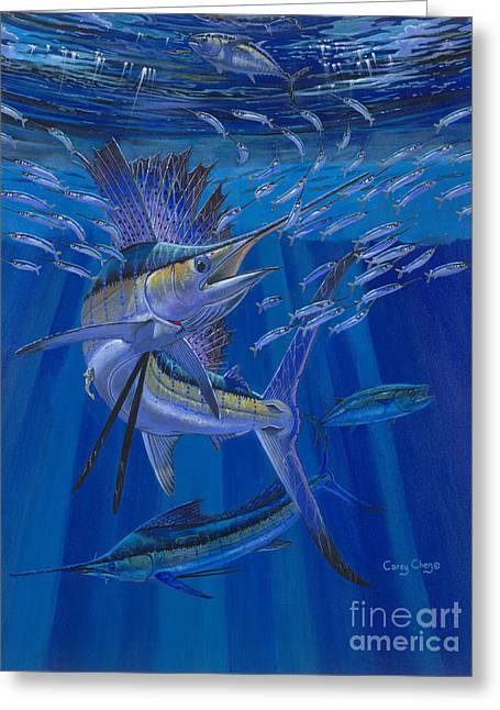 Sportfishing Boats Greeting Cards - Team Work Off0036 Greeting Card by Carey Chen