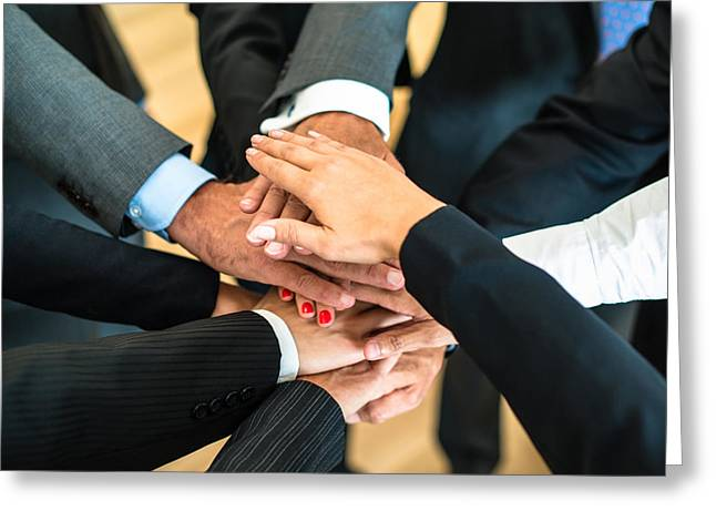 Cooperation Greeting Cards - Teamwork - stack of hands Greeting Card by Frank Gaertner