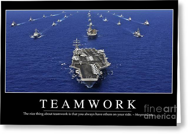 Strike Group Greeting Cards - Teamwork Inspirational Quote Greeting Card by Stocktrek Images