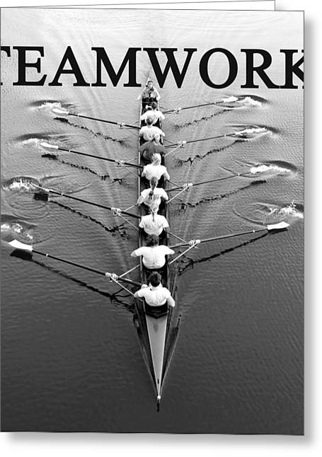 Female Athletics Greeting Cards - Teamwork rowing work A Greeting Card by David Lee Thompson