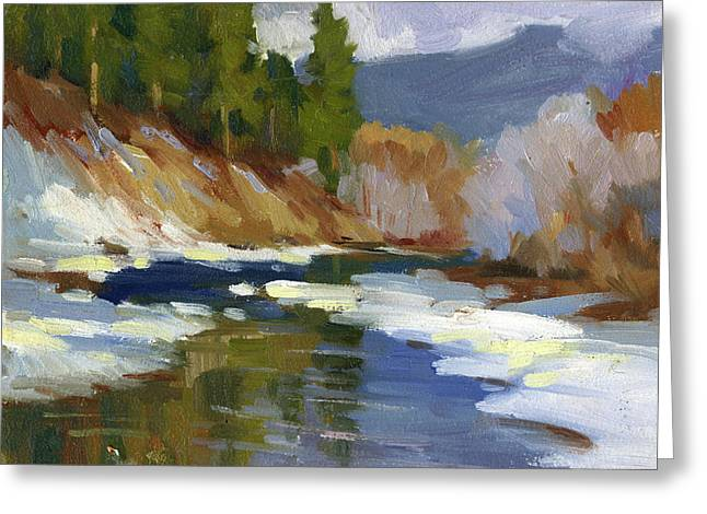 Snow Scenes Greeting Cards - Teanaway River Greeting Card by Diane McClary