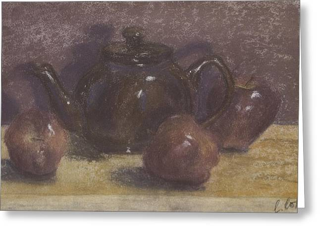 Interior Still Life Pastels Greeting Cards - Teapot and Apples Greeting Card by Claudia Cox