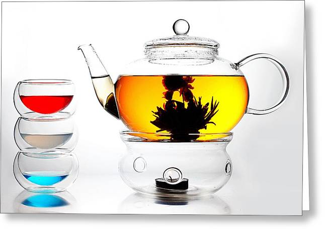 Glass Greeting Cards - Teapot and Colorful Cups Liquid Art Greeting Card by Paul Ge