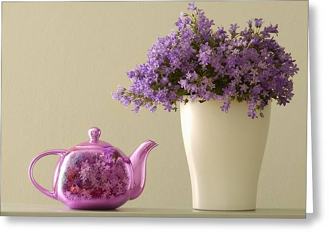 Tea Kettle Greeting Cards - Teapot And Flowers In A Vase Greeting Card by Ben Welsh