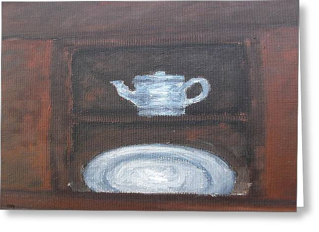 Tablets Greeting Cards - Teapot And Plate Greeting Card by Patrick J Murphy