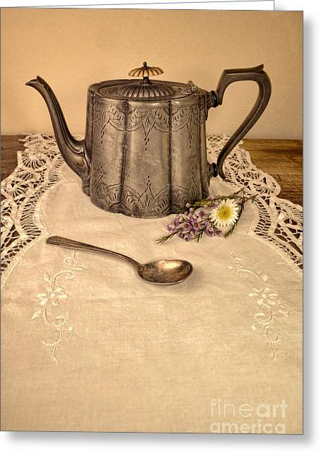 Teaspoon Greeting Cards - Teapot and Spoon Greeting Card by Jill Battaglia