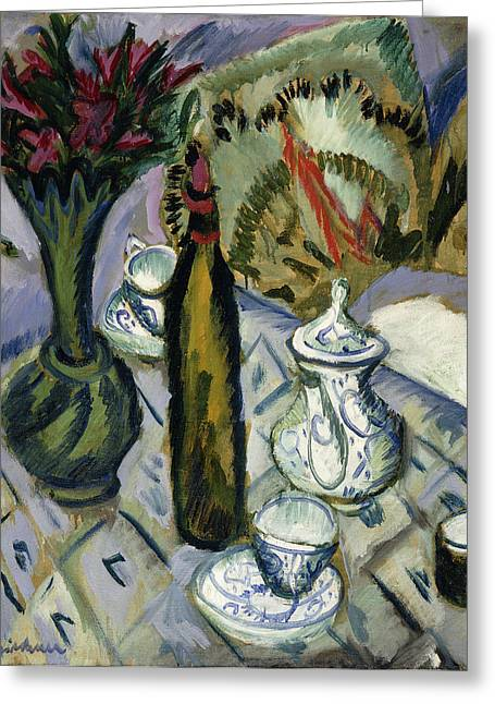 Twentieth Century Greeting Cards - Teapot Bottle and Red Flowers Greeting Card by Ernst Ludwig Kirchner