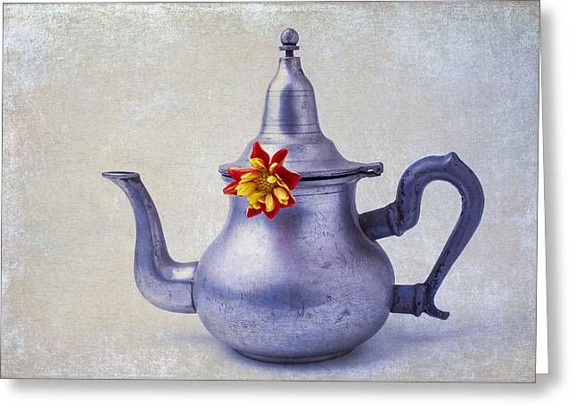 Teapot Dahlia Greeting Card by Garry Gay