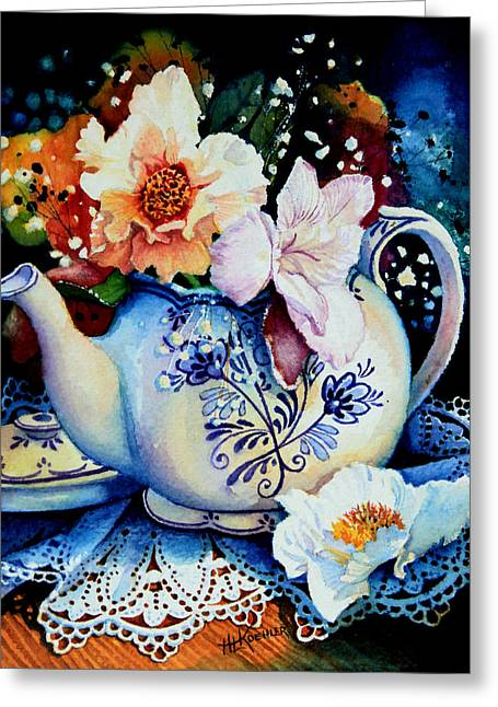 Hannes Greeting Cards - Teapot Posies And Lace Greeting Card by Hanne Lore Koehler