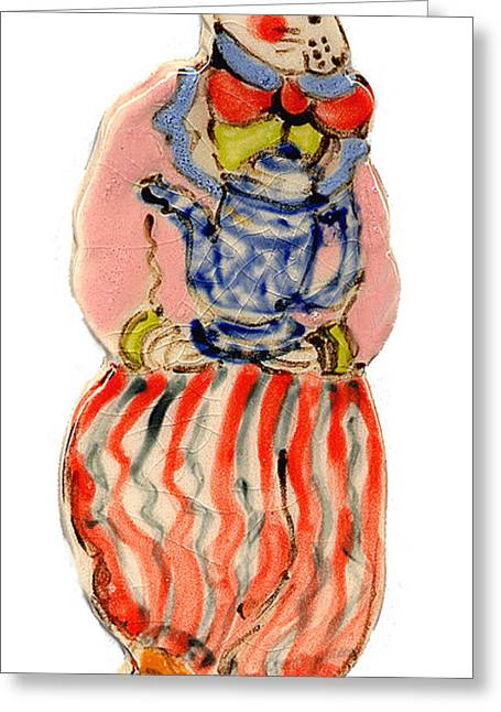 Whimsical. Ceramics Greeting Cards - Teapot Rabbit Greeting Card by Melissa Sarat