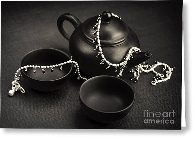 Oriental Teapot Greeting Cards - Teapot set and silver Greeting Card by TeaBum Originals