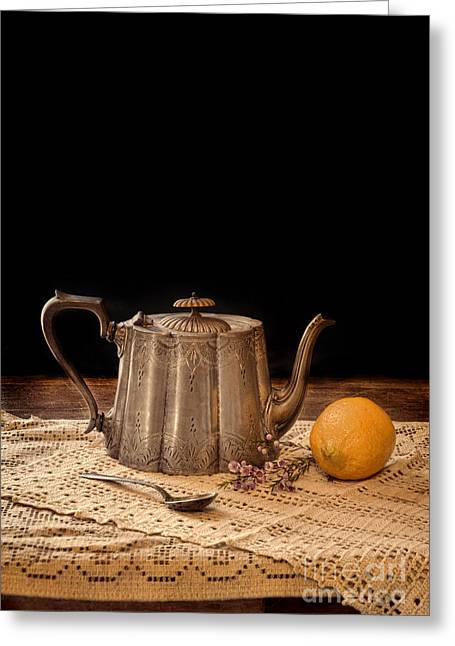 Teaspoon Greeting Cards - Teapot with Lemon Greeting Card by Jill Battaglia