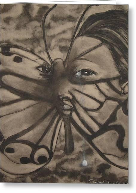 Tears Pastels Greeting Cards - Tear Drop Butterfly Greeting Card by Carmel Joseph
