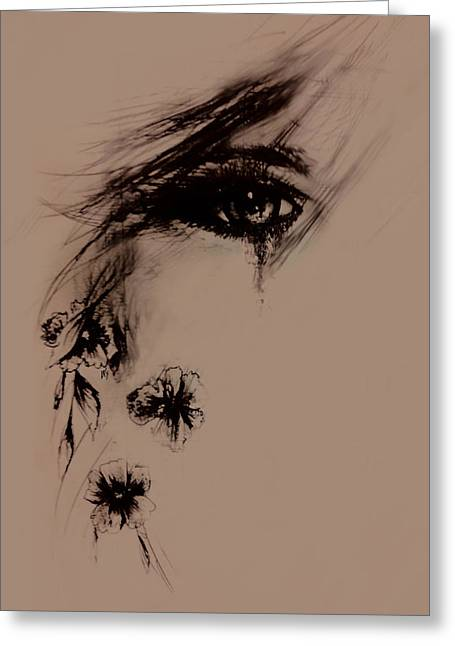 Tear Drawings Greeting Cards - Tear Greeting Card by Rachel Christine Nowicki