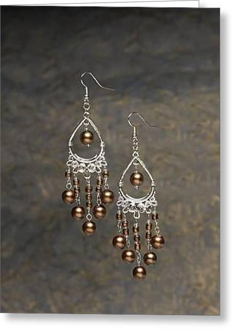 Chandelier Earrings Greeting Cards - Teardrop Filigree and Brown Pearl Chandelier Earrings Greeting Card by Kimberly Johnson