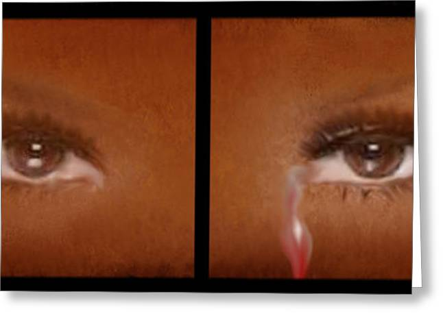 Tears Greeting Cards - Tearful Eyes Greeting Card by Sannel Larson