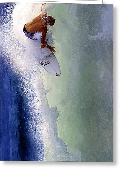 Surfing Contest Greeting Cards - Tearing Up Trestles Greeting Card by Ron Regalado