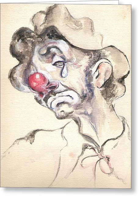 Emmett Kelly Greeting Cards - Tears of a Clown Greeting Card by Shan Ungar