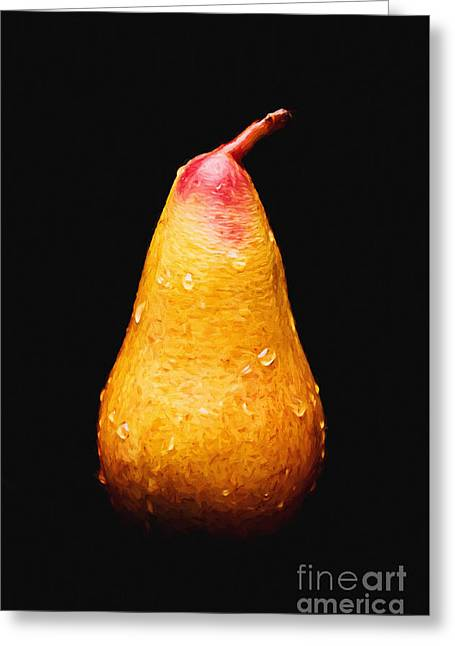 Fine Mixed Media Greeting Cards - Tears Of A Sad Pear Greeting Card by Andee Design