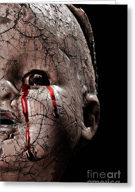 Baby Crying Greeting Cards - Tears of Blood Greeting Card by Jt PhotoDesign