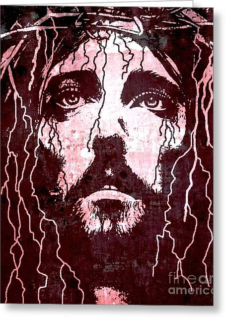 Bible Digital Art Greeting Cards - Tears of Jesus Greeting Card by Mike Grubb