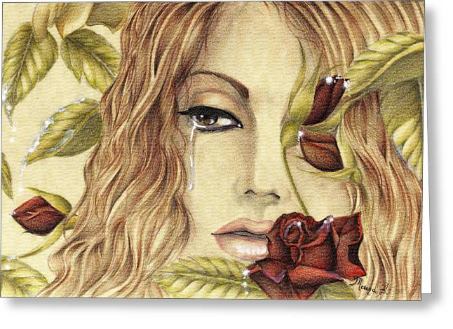 Red Lips Pastels Greeting Cards - Tears of Love Greeting Card by Maena Bartolomei
