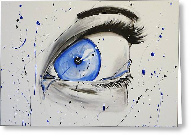 Hyper-realism Greeting Cards - Teary Blue  Greeting Card by Janee Alexander