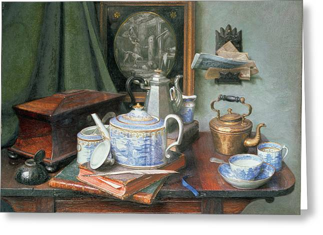 Tea Set Greeting Cards - Teatime Greeting Card by Edward George Handel Lucas