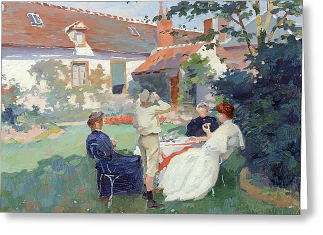 Family Time Greeting Cards - Teatime Oil On Canvas Greeting Card by Jules Ernest Renoux