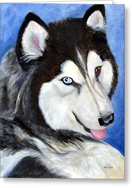 Huskies Paintings Greeting Cards - Tebo Greeting Card by Elaine Hodges