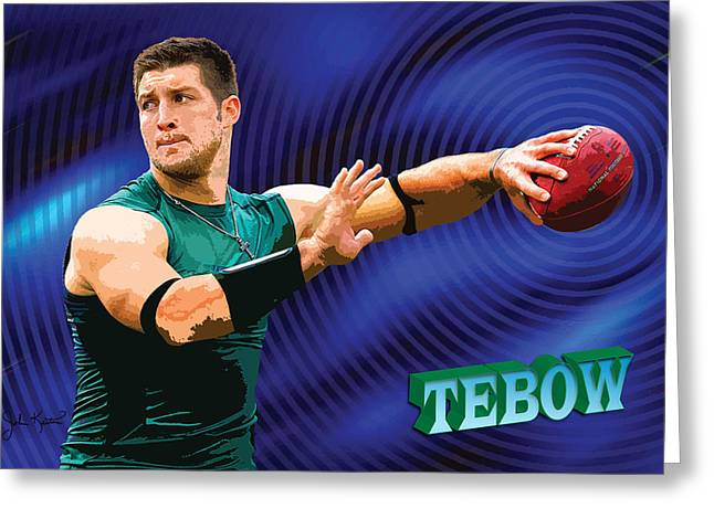 Tebow Greeting Cards - Tebow Greeting Card by John Keaton