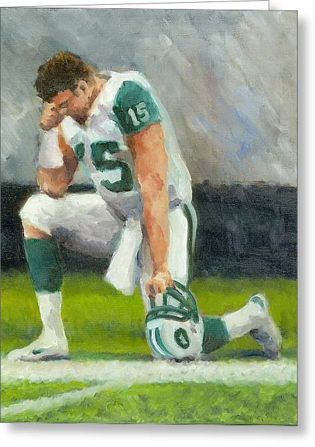 Tebow Greeting Cards - Tebowing Greeting Card by Joe Maracic