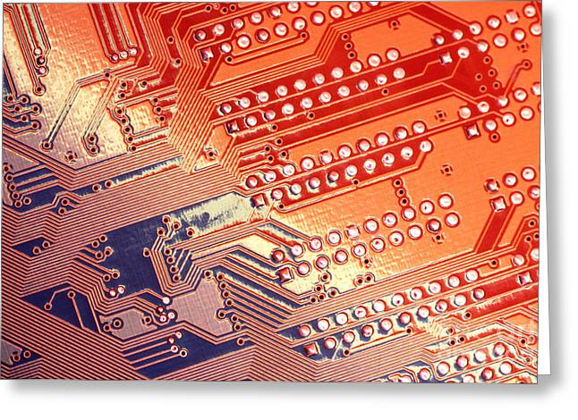 Circuit Board Greeting Cards - Tech Abstract Greeting Card by Tony Cordoza
