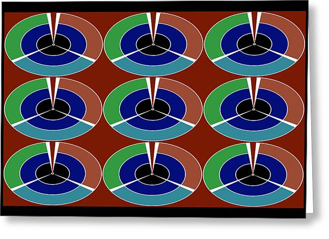 Disk Mixed Media Greeting Cards - Techno Movement Disc Display Pattern Round Circles Layers 3D graphic digital art collage by NavinJos Greeting Card by Navin Joshi