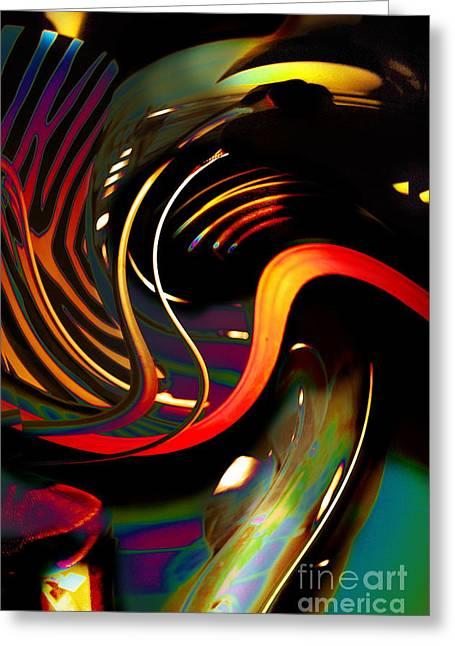 Swirls And Stripes Greeting Cards - Techno  Neon stripes Greeting Card by Expressionistar Priscilla-Batzell