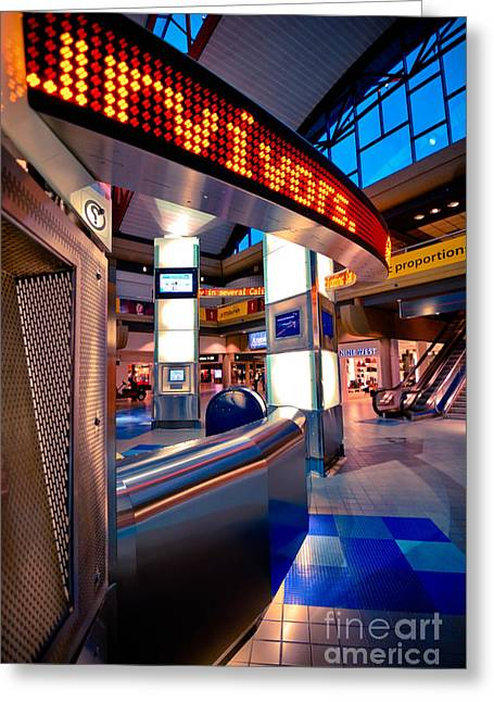 Neon Greeting Cards - Technology Curve Pittsburgh International Airport Greeting Card by Amy Cicconi