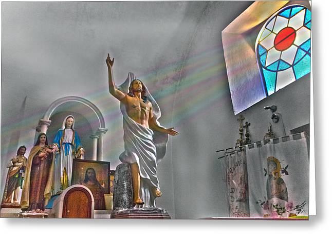 Archangel Greeting Cards - Tecomatlan church sanctuary Greeting Card by John  Bartosik
