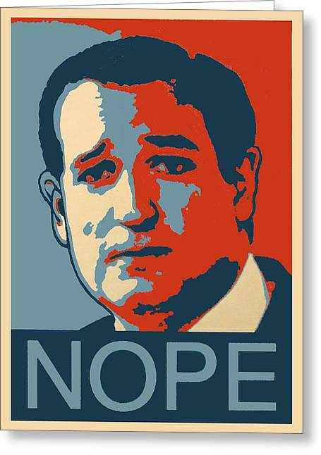 Conservative Greeting Cards - Ted Says Nope Greeting Card by Kazumi Whitemoon