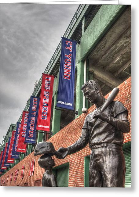 Fenway Park Greeting Cards - Ted Williams and the Boy Statue - Boston Greeting Card by Joann Vitali