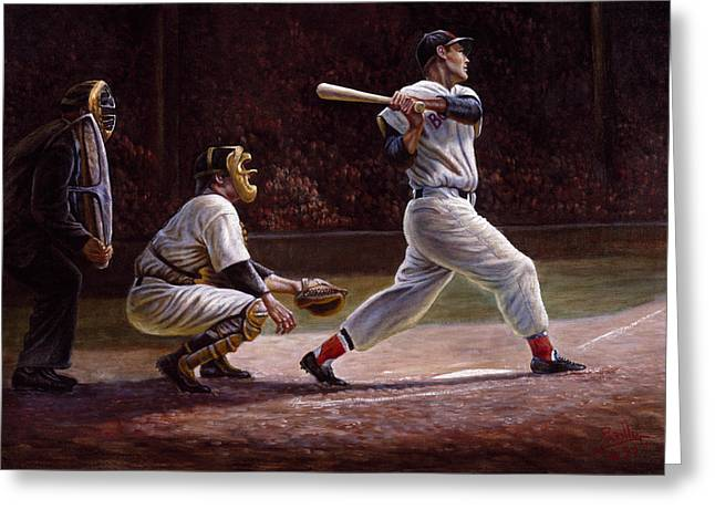 Williams Greeting Cards - Ted Williams At Bat Greeting Card by Gregory Perillo