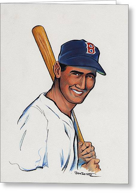 Boston Red Sox Greeting Cards - Ted Williams Greeting Card by Ben De Soto