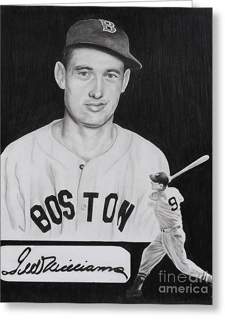 Player Greeting Cards - Ted Williams Greeting Card by Billy Burdette