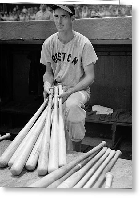 Boston Red Sox Poster Greeting Cards - Ted Williams Greeting Card by Gianfranco Weiss