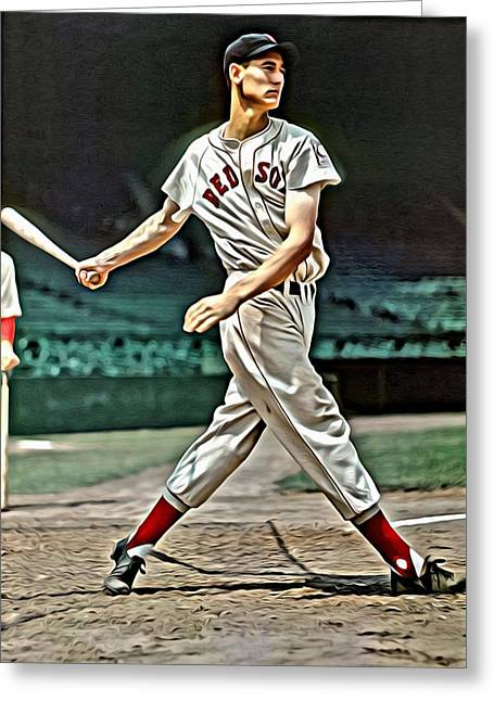 Boston Red Sox Poster Greeting Cards - Ted Williams Painting Greeting Card by Florian Rodarte