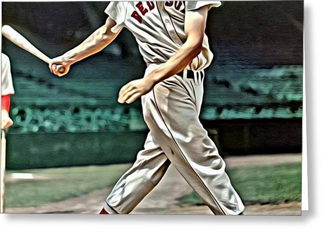 Ted Williams Painting Greeting Card by Florian Rodarte
