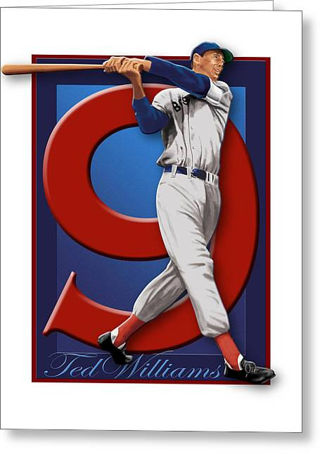 U.s. Marine Corps Greeting Cards - Ted Williams Greeting Card by Ron Regalado