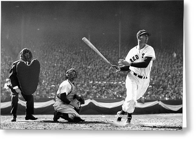 Red Sox Mixed Media Greeting Cards - Ted Williams Slams One Greeting Card by Daniel Hagerman