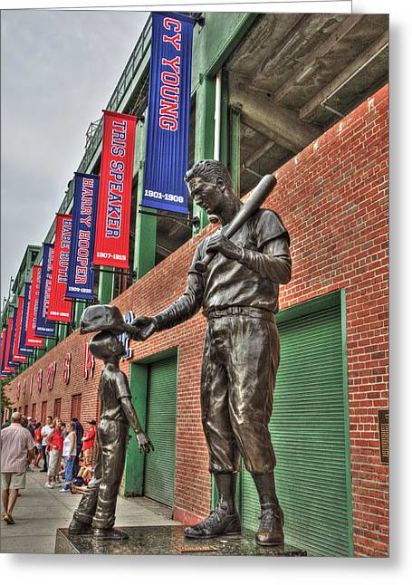 Fenway Park Greeting Cards - Ted Williams Statue at Fenway Park Greeting Card by Joann Vitali